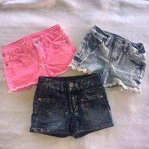 3 justice girls shorts bundle size 6 slim